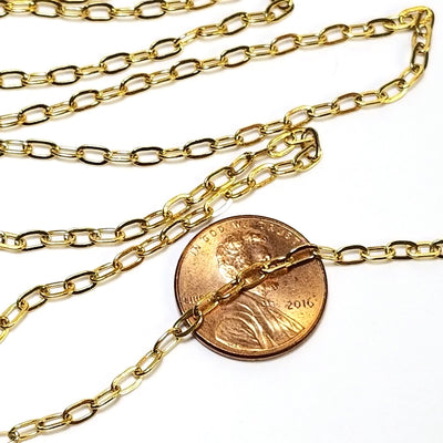 Gold Cross Chain, Stainless Steel, 4.5x2.5mm, Soldered Closed Links, Lot Size 50 Meters Spooled, #1926 G