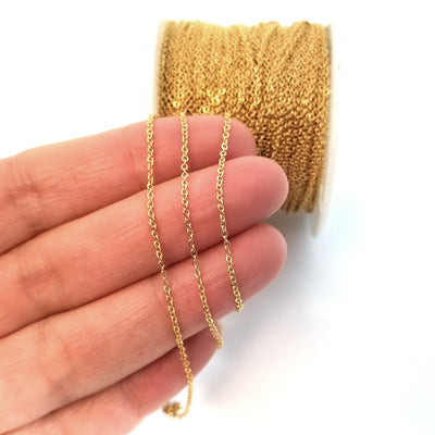 Gold Stainless Steel Chain, Bulk Chain, Jewelry Making Chain, Hypoallergenic, 316L Stainless, 1.2x1.5mm Oval Links, Lot Size 50 Meters Spooled, #1908 G
