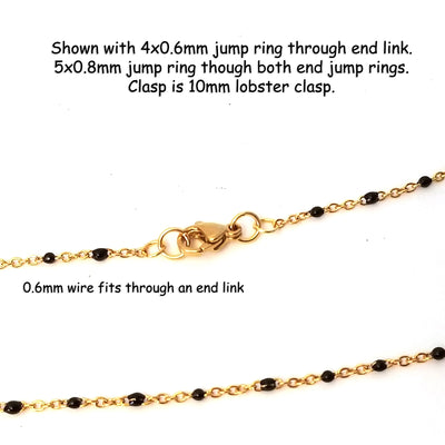 Black Enamel Gold Stainless Station Chain, Bulk 30 Feet, #1000 G