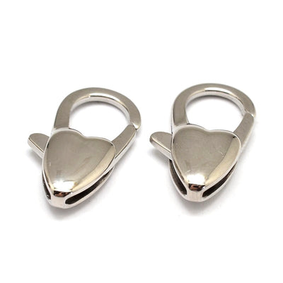 20mm Heart Lobster Clasps, Stainless Steel, Lot Size 2 Clasps, #1360