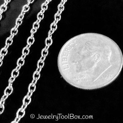 Stainless Steel Chain, Fine 3x2x0.6mm Oval Rolo Chain, Soldered Closed , 50 Meters, #1905