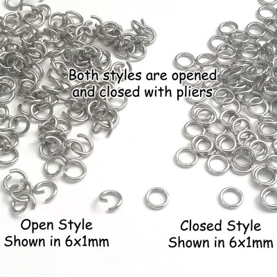 Thin Stainless Steel Jump Rings, 0.7mm thick