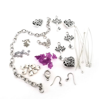 Key to my Heart Charm Bracelet Kit, Do It Yourself Jewelry Making Kit, Includes all Charms, Chain, Jump Rings, Clasp plus Digital Step by Step Instructions  #102