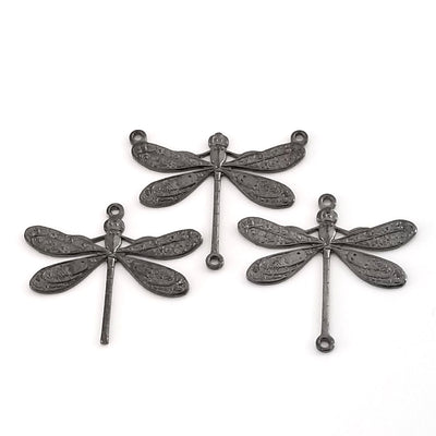 Large Black Dragonfly Pendant Connector Charm, 3 Loops, Lot Size 6, #06BL