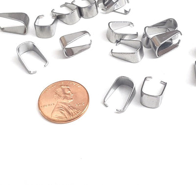 Large Pinch Bail, 13x9mm, Stainless Steel, Lot Size 100 Pieces, #1351