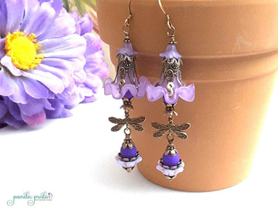 How to Make the Orchid Ruffle Dragonfly Earrings, a tutorial