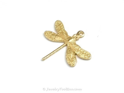 Small Dragonfly Charm, 1 Loop, Brass, Lot Size 6, #01R
