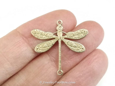 Large Dragonfly Charm, 1 Loop, Brass, Lot Size 6, #04R