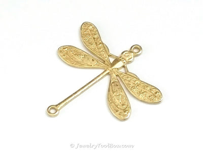 Large Dragonfly Charm, 1 Loop, Brass, Lot Size 10, #04R