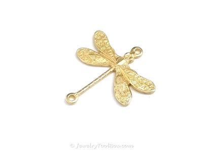 Small Dragonfly Connector Charm, 2 Loop, Brass, Lot Size 6, #02R