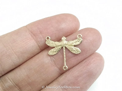 Small Dragonfly Pendant Connector Charm, 3 Loop, Brass, Lot Size 6, #03R
