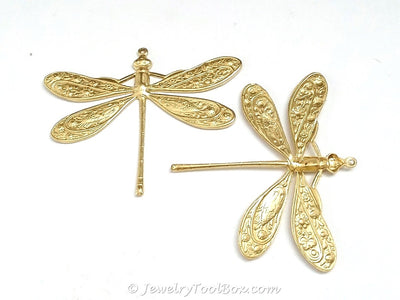 Extra Large Dragonfly Charm, 1 Loop, Brass, Lot Size 2, #07R