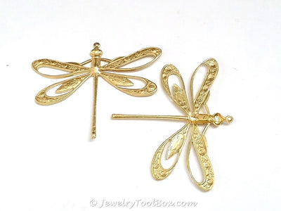 Extra Large Filigree Dragonfly Charm, 1 Loop, Brass, Lot Size 2, #11R