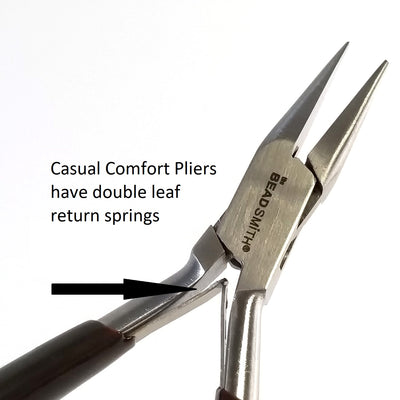 Flat Nose Pliers, Casual Comfort Jewelry Making Tools, Ergonomic Grip Handles, Box Joint, Return Leaf Spring, Beadsmith Brand, #308 43