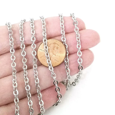 Flattened Link Stainless Steel Chain, 3.5x3mm, Open Link Rolo Cross Chain, Lot Size 30 feet, #1915-1