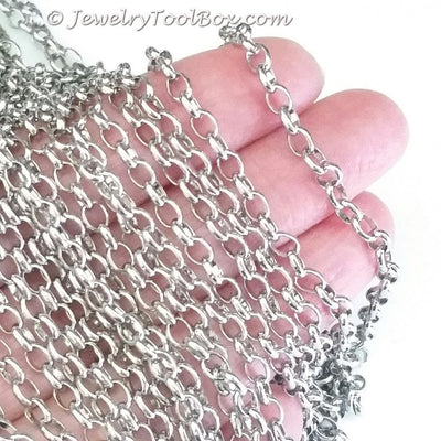 Stainless Steel Rolo Style Jewelry Chain, Soldered Closed Links, 3.5x4.5mm, Lot Size 30 Ft, #1920
