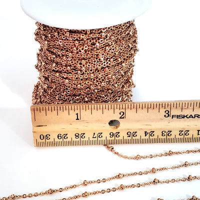 Rose Gold Stainless Steel Station Chain, Medium Weight Soldered Closed 2mm links with 2x3mm Rondelle Stations, Lot Size 50 meters spooled, #1954 RG