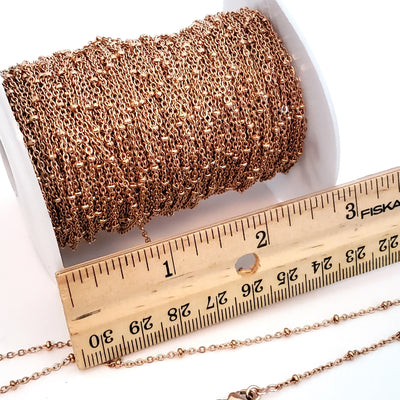 Fine Station Chain, Rose Gold Stainless Steel with 1.5x2mm Rondelle Bead Stations, Soldered Closed Links, Lot Size 50 meters spooled, #1951 RG