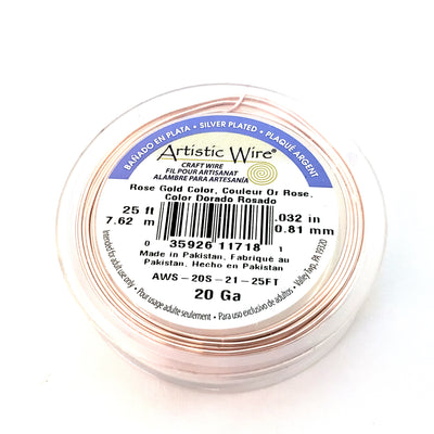 Rose Gold Colored Copper Wire, Anti-Tarnish, 20 Gauge, 25 Feet, Artistic Wire