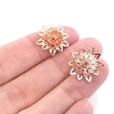Rose Gold Filigree Flower Bead Caps, Multiple Layer Bendable, Moldable, 2mm Hole, Lot Size 100, #2054 RG
