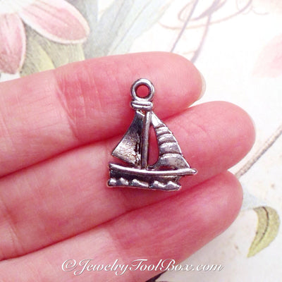 Sailboat Charms, Pendants, Antique Silver, Double Sided, Lead Free, Nickel Free, 20x16x2mm, 2mm Loop, Lot Size 20, #2024 CBK