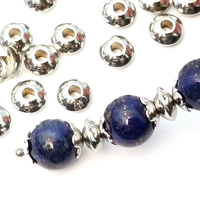 6mm Abacus Beads, Stainless Steel 6x3mm, 2mm Hole, Lot Size 200, #1532