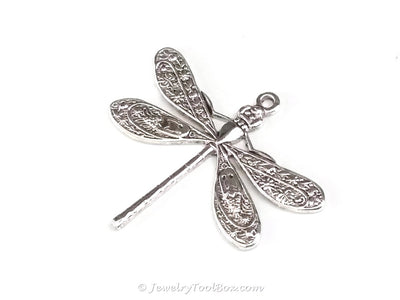 Large Silver Dragonfly Charm, 1 Loop, Antique Sterling Silver Plated Brass, Lot Size 6, #04S