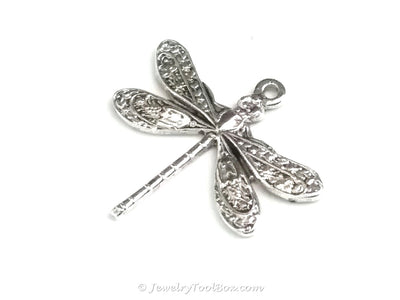 Small Silver Dragonfly Charm, 1 Loop, Antique Sterling Silver Plated Brass, Lot Size 6, #01S