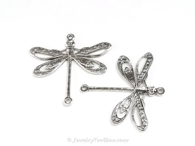 Large Silver Filigree Dragonfly Connector Charm, 2 Loop, Antique Sterling Silver Plated Brass, Lot Size 6, #09S