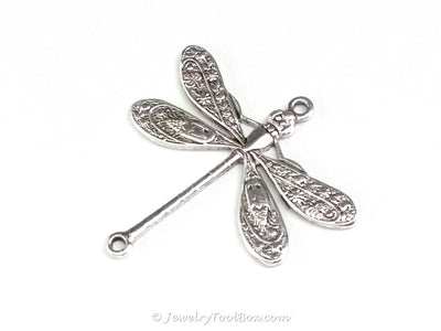 Large Silver Dragonfly Connector Charm, 2 Loop, Antique Sterling Silver Plated Brass, Lot Size 6, #05S
