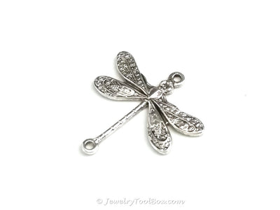 Small Silver Dragonfly Connector Charm, 2 Loops, Sterling Silver Plated Brass, Lot Size 6, #02S