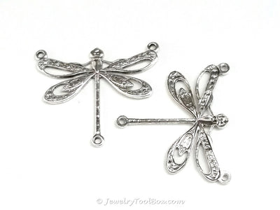 Large Silver Filigree Dragonfly Pendant Connector Charm, 3 Loop, Antique Sterling Silver Plated Brass, Lot Size 6, #10S