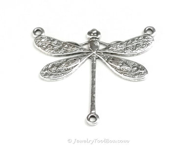 Large Silver Dragonfly Pendant Connector Charm, 3 Loop, Antique Sterling Silver Plated Brass, Lot Size 6, #06S