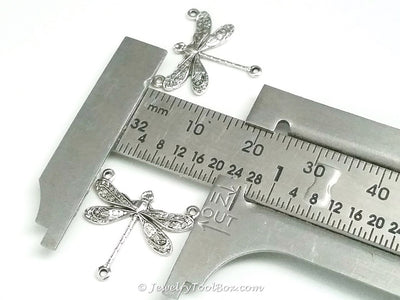 Small Silver Dragonfly Pendant Connector Charm, 3 Loops, Sterling Silver Plated Brass, Lot Size 6, #03S