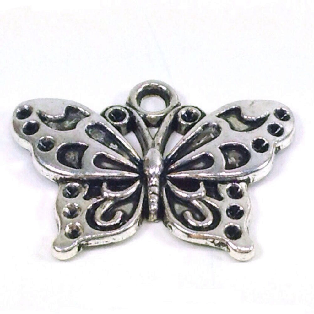 FBM ref.43a antique silver necklace cabochon butterflyPurple butterfly woman birthday valentines day woman christmas present