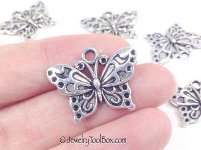 Butterfly Charms, Antique Silver Metal Pendants, 19x24mm, Lot Size 18, #1033 BY