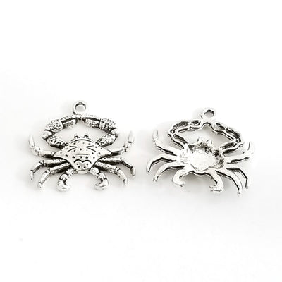 Crab Pendant Charms, Antique Silver Pewter, Lead Free, 23x24mm, Lot Size 12, #1243