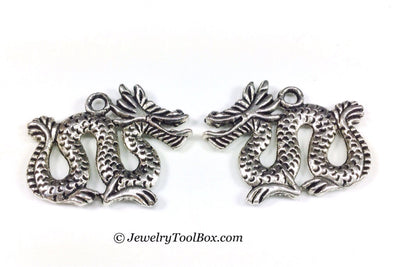 Dragon Charms, Antique Silver Pendants, Double Sided, 19x24mm, Lot Size 14, #1008