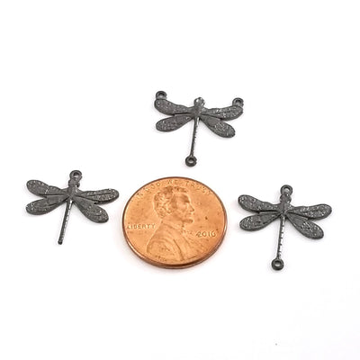 Small Black Dragonfly Connector Charm, 2 Loop, Lot Size 6, #02BL