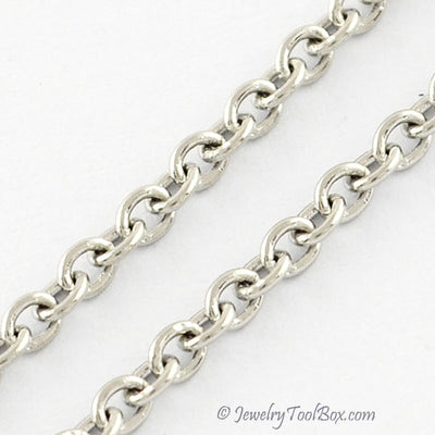 Fine Stainless Steel Soldered Closed Link Chain, 2x1.5x0.4mm, 316 Stainless, Lot Size 50 Meters, #1912