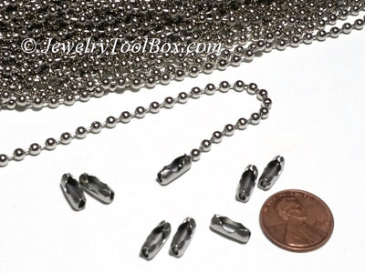 3.2mm Ball Chain, Stainless Steel, Lot Size 50 Meters Spooled, #1916 A