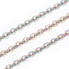Multi-Color Titanium Plated Stainless Fine Chain, 3x2.5mm Flattened Oval Links, Bulk 30 Feet on a Spool, #1904 MC