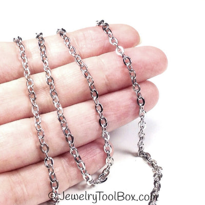 Flattened Link Chain, 3x4mm Oval Open Links, 50 Meters on a Spool, #1906
