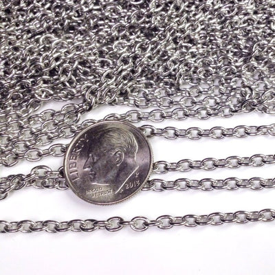 Stainless Steel Jewelry Chain, 3x4mm Oval, Soldered Closed Links, Lot Size 50 Meter Spool, #1006