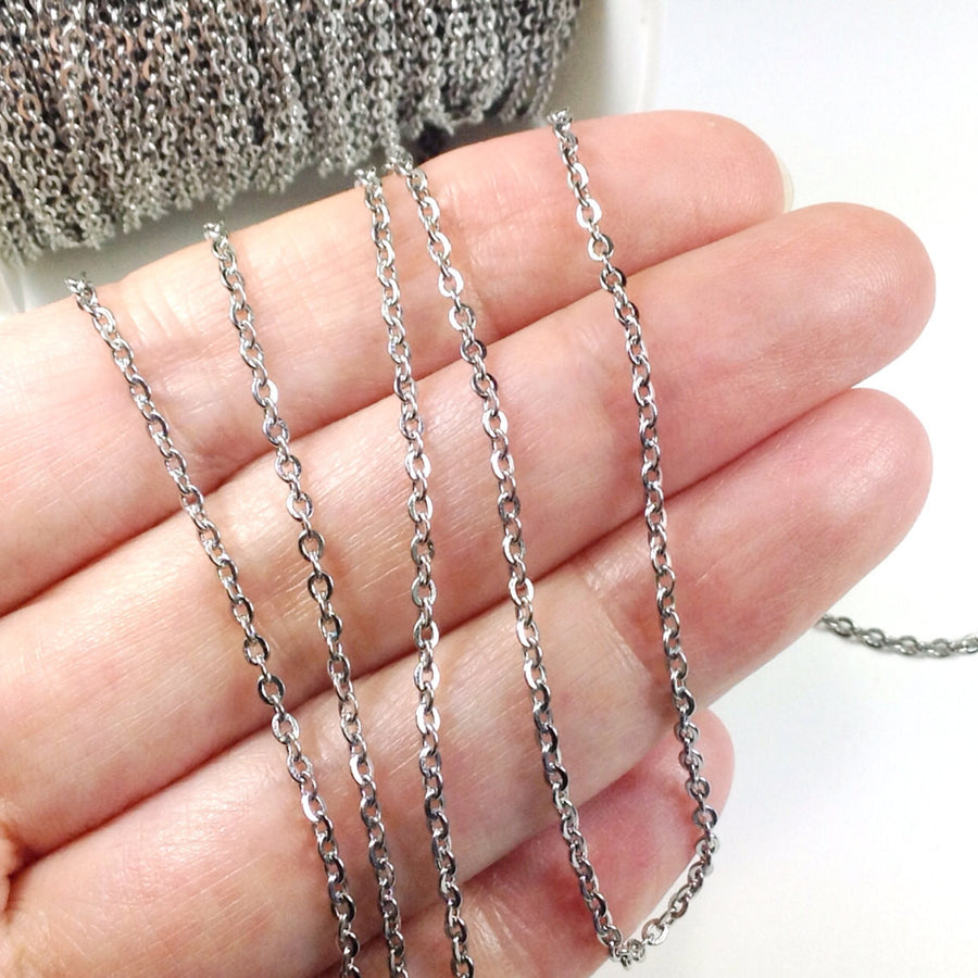 sterling bulk chain pin chains link rectangle silver