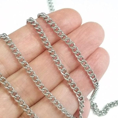 Twist Chain, Stainless Steel Chain, Bulk 50 Meters Spooled, 4x3x1mm, #1936