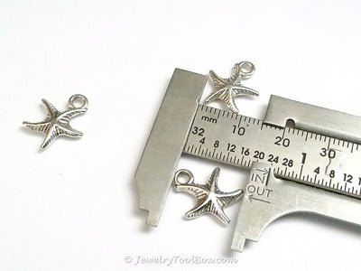 Starfish Charms, Antique Silver, 3 Dimensional, Lead Free, Cadmium Free, 14mm, Lot Size 20, #2153