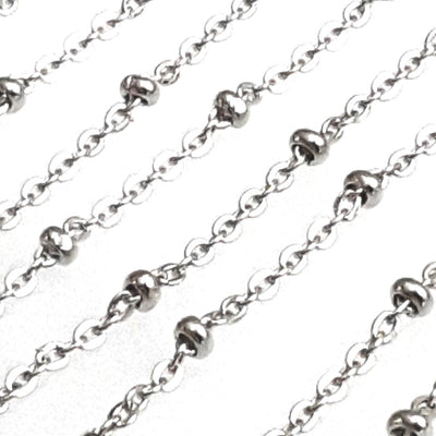 Stainless Steel Station Chain with 3x2mm Rondelle Stations, Soldered Closed Links, 316 Stainless, Lot Size 50 Meters Spooled, #1937 Spool