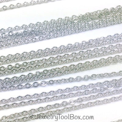 Stainless Steel Chain, Bulk Chain, Jewelry Making Chain, Hypoallergenic, 316L Stainless, 1.2x1.5mm Oval Links, Lot Size 50 Meters Spooled, #1908