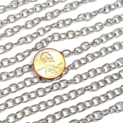 Stainless Steel Jewelry Chain, Hypoallergenic, 304 Stainless, 5x6.5mm Oval Open Links, Lot Size 50 Meters, #1928